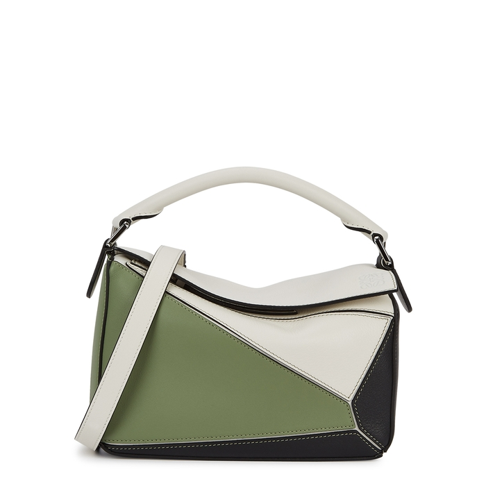Loewe Puzzle Small Tri-tone Leather Cross-body Bag In Green