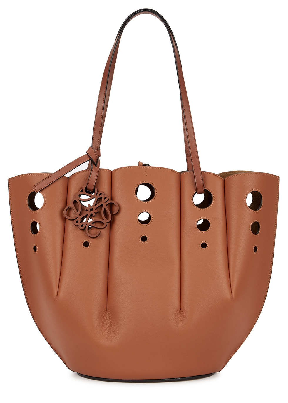 Shell brown perforated leather tote