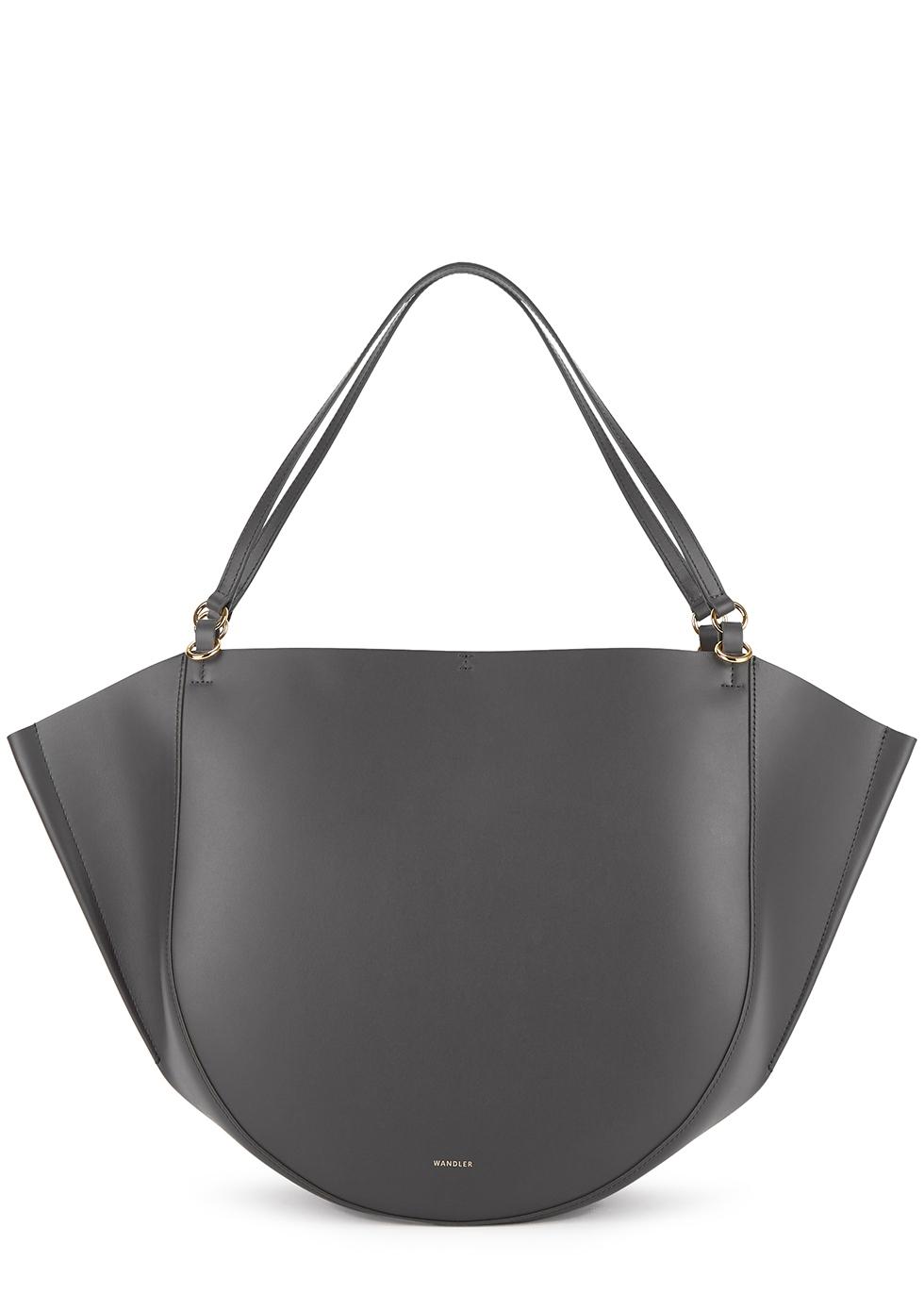 Mia dark grey leather tote