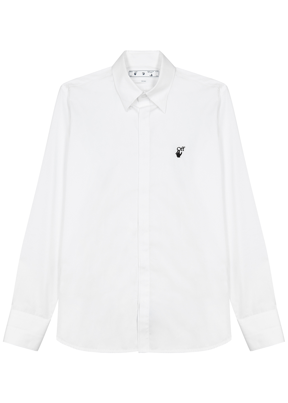 White cotton-poplin shirt