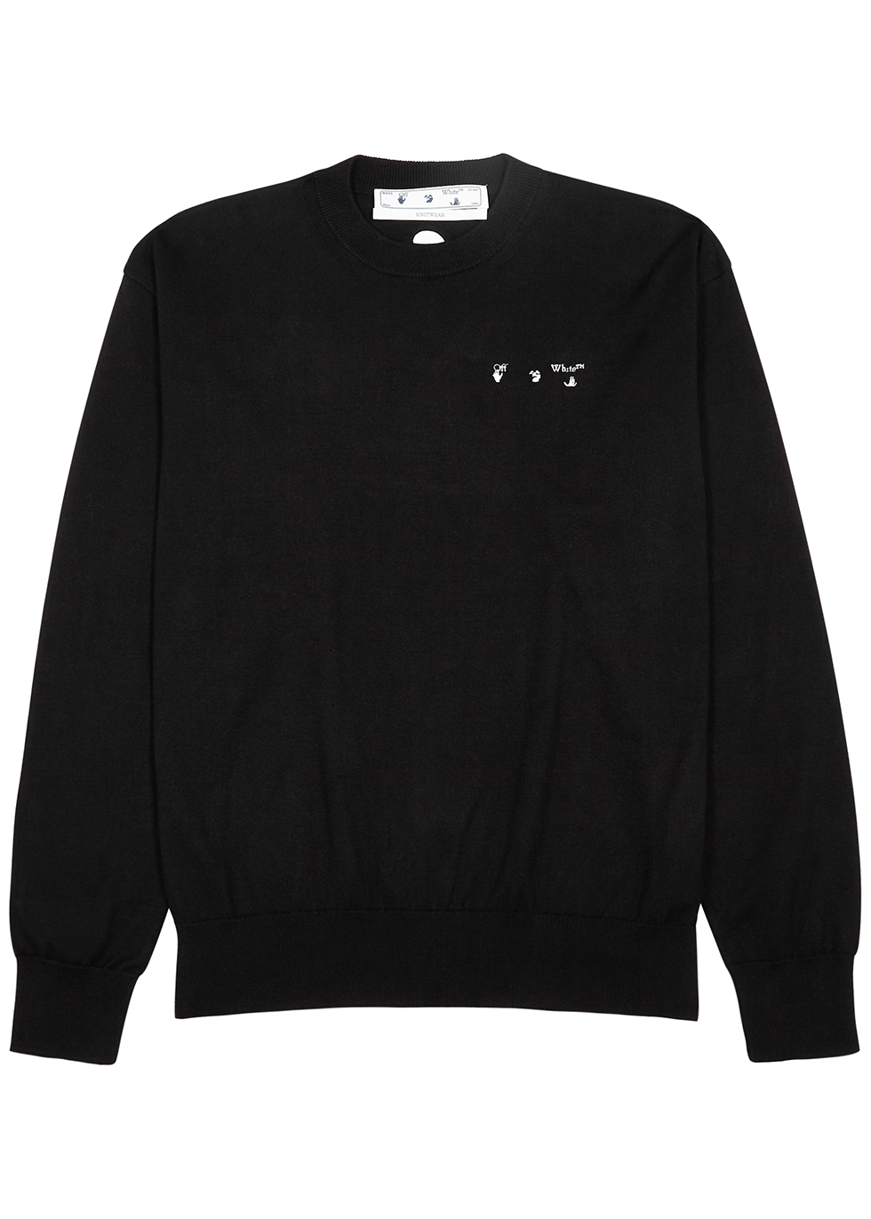 Black logo-embroidered cotton jumper