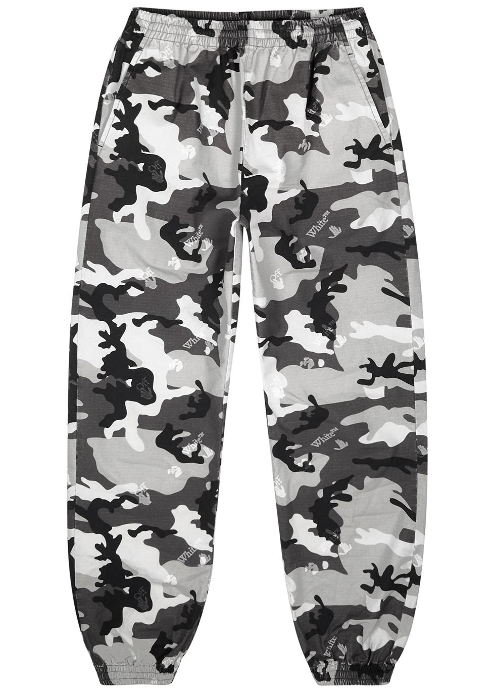Grey camouflage-print cotton sweatpants