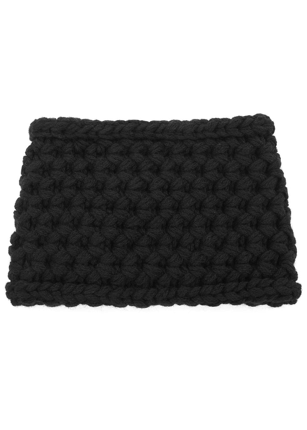 Diva black chunky-knit cashmere headband