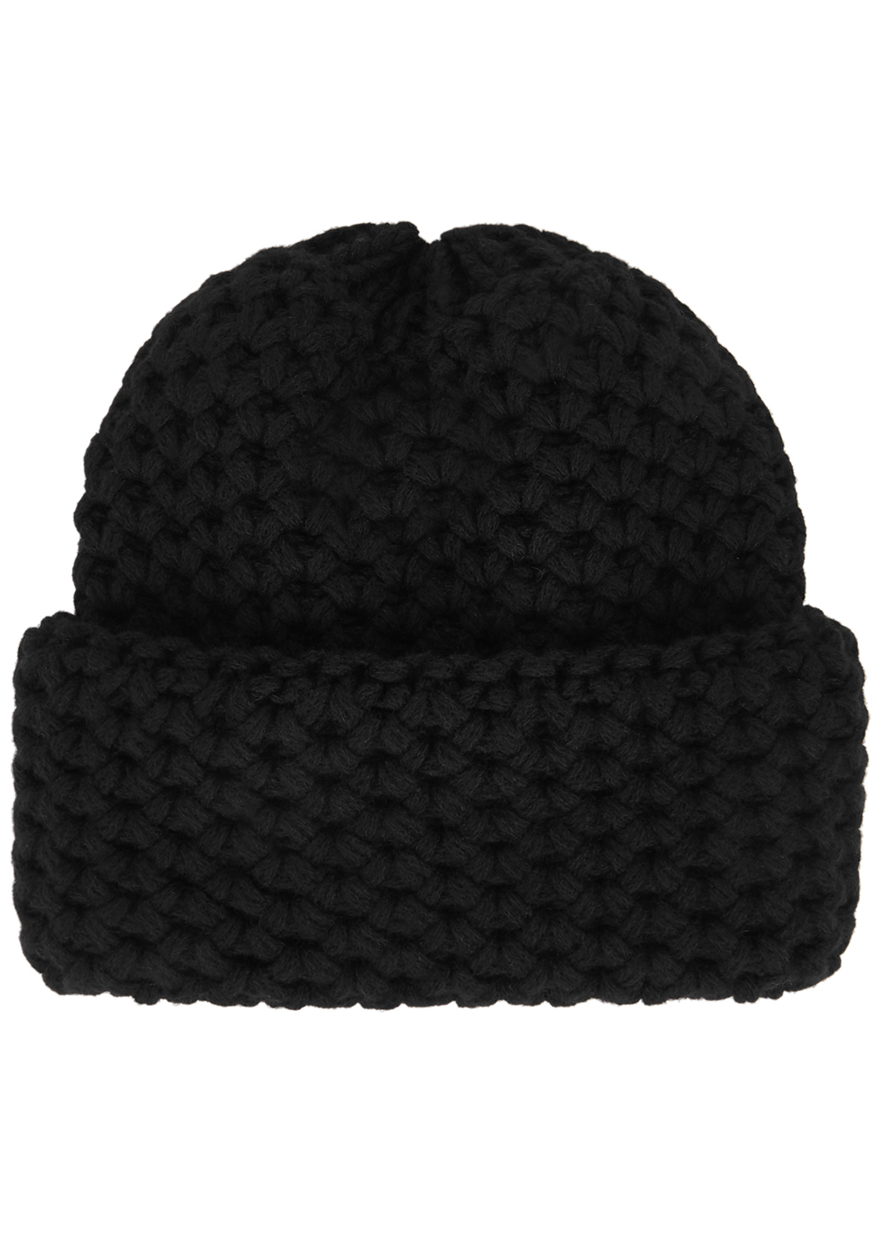 Giulia black chunky-knit cashmere beanie