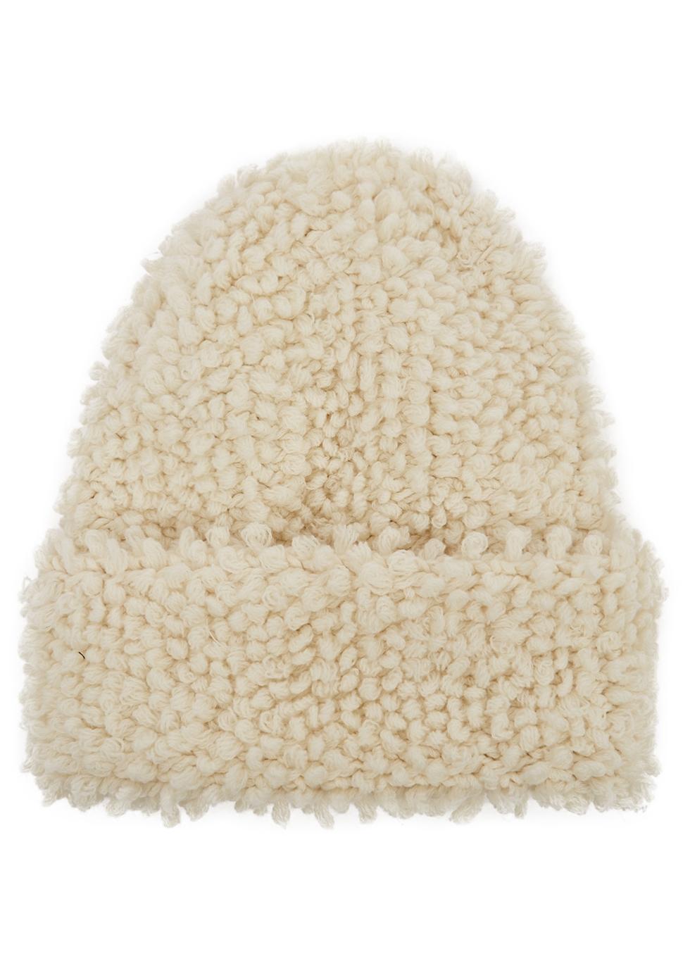 Giulia cream bouclé-knit cashmere beanie
