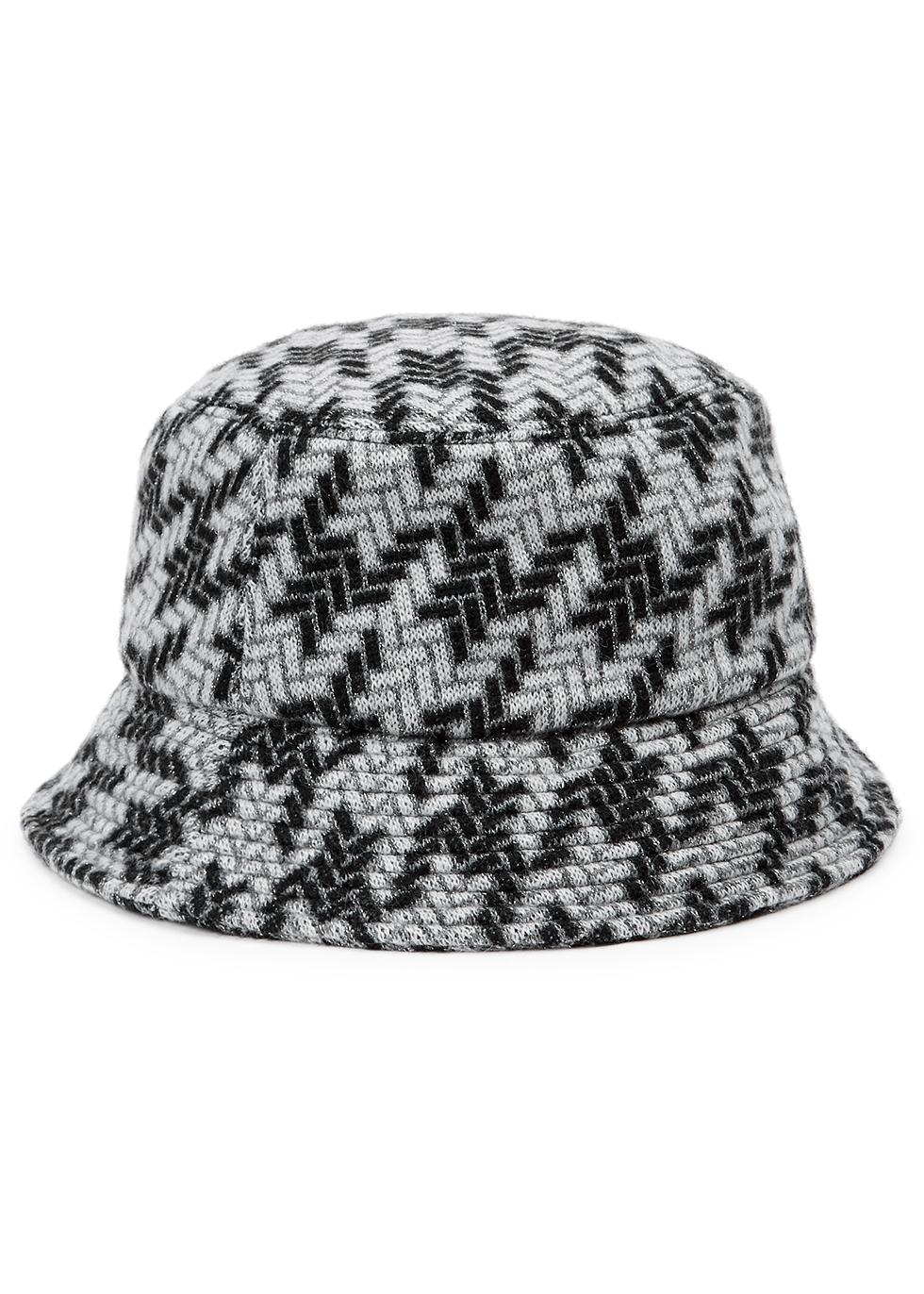 Fisherman metallic-weave wool-blend bucket hat