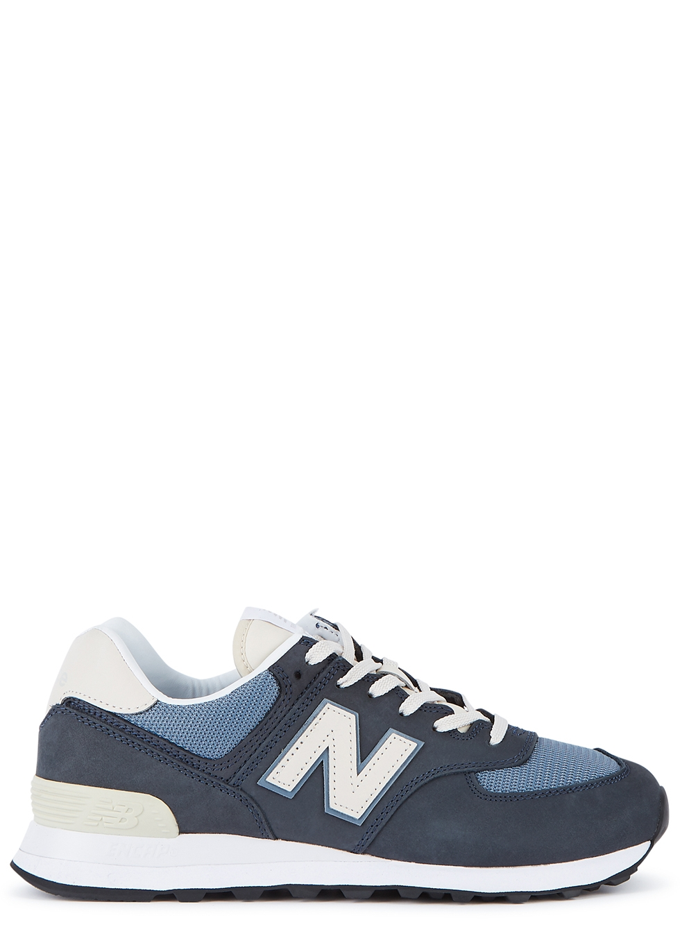 574 navy panelled sneakers