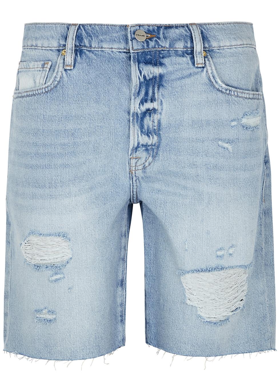 Le Slouch Bermuda distressed denim shorts
