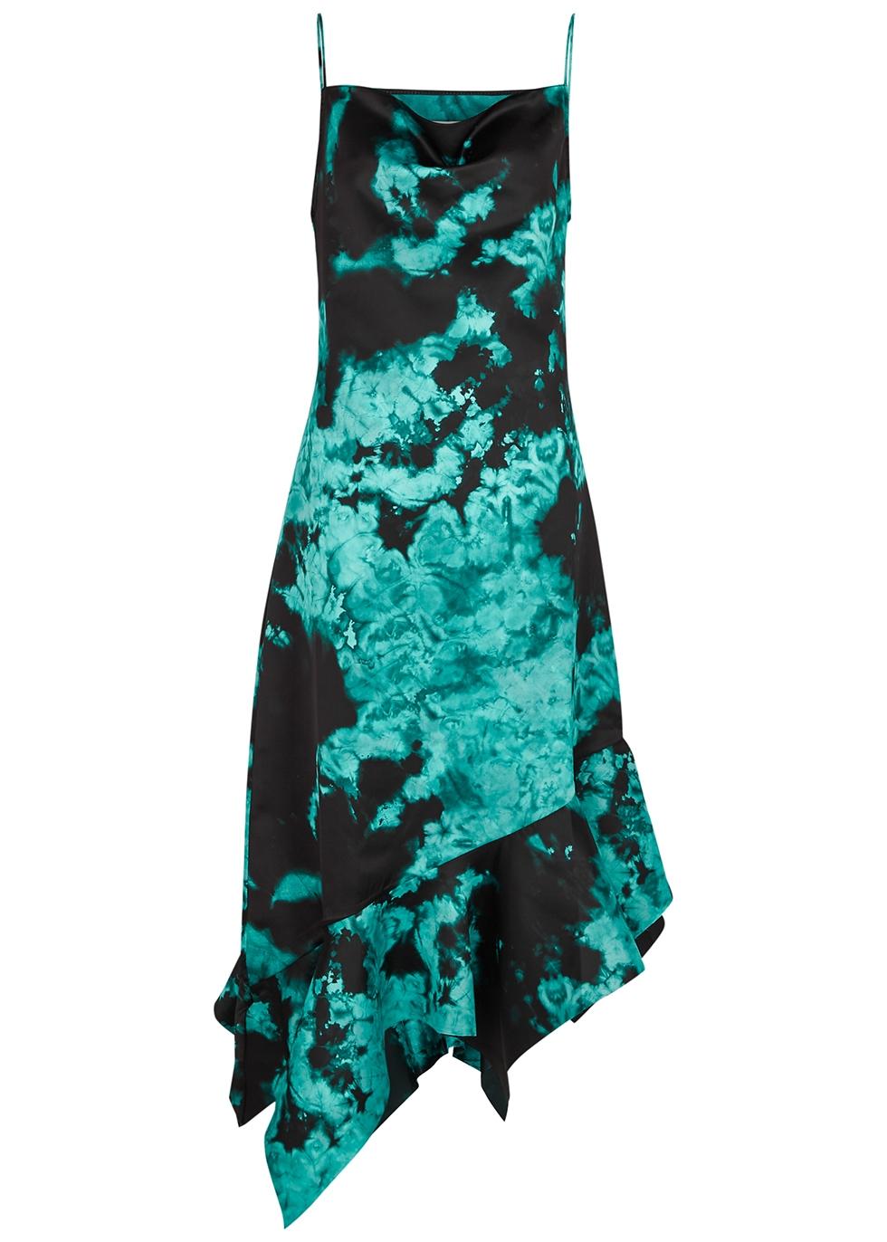 Tie-dyed satin midi dress