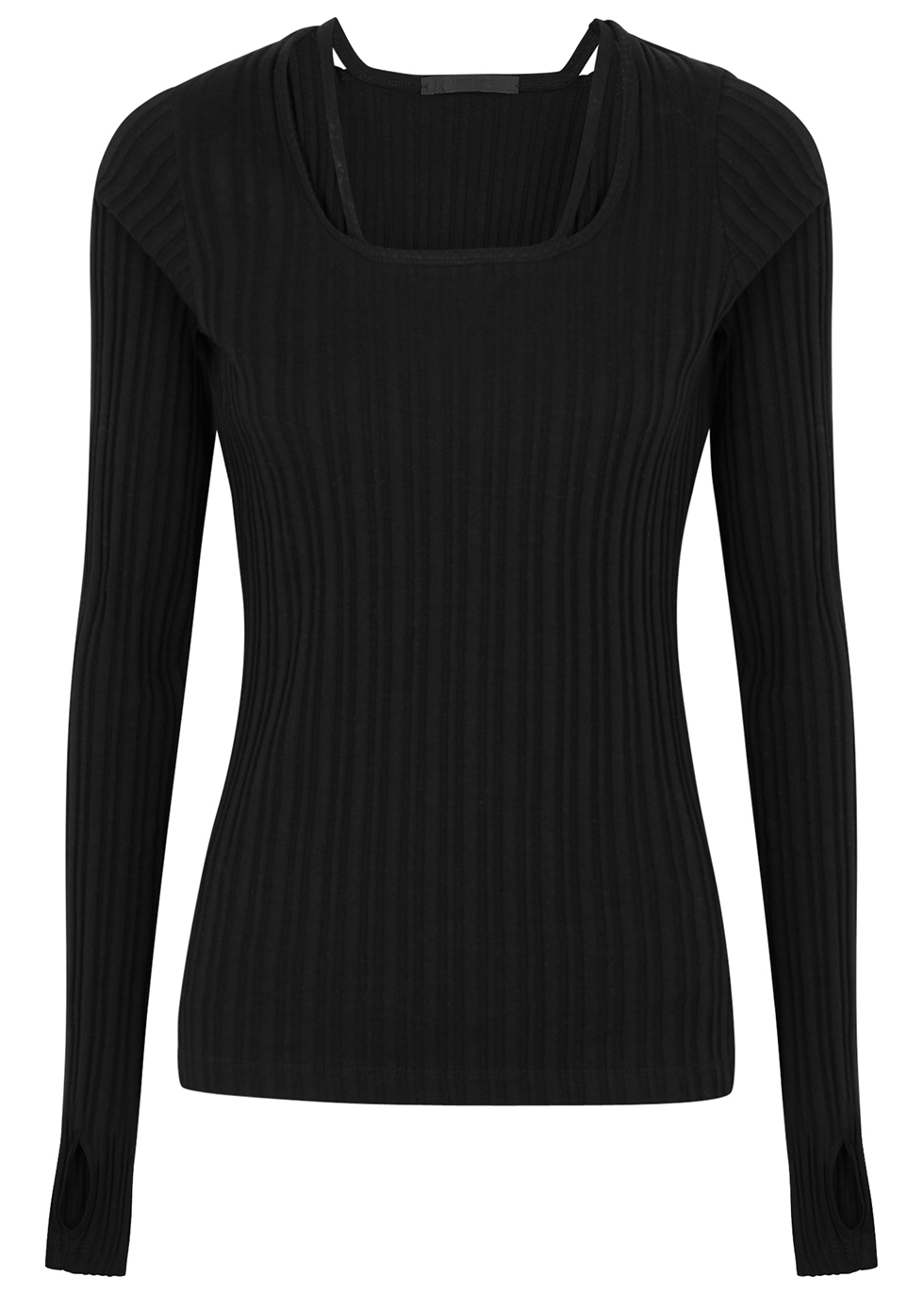 Black ribbed cotton top