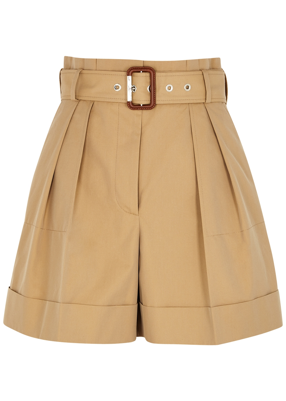 Camel belted cotton shorts