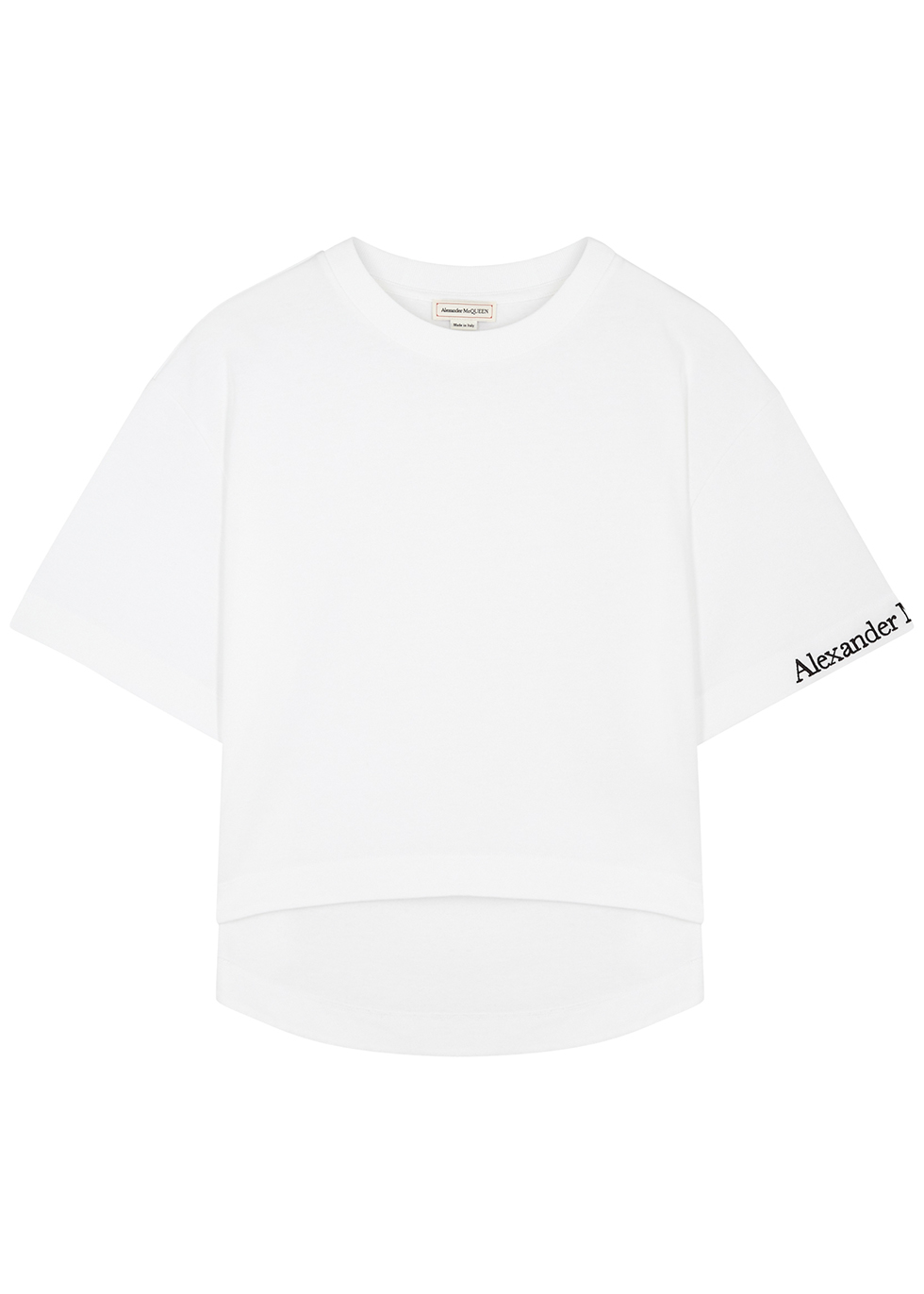 White logo-embroidered cotton T-shirt