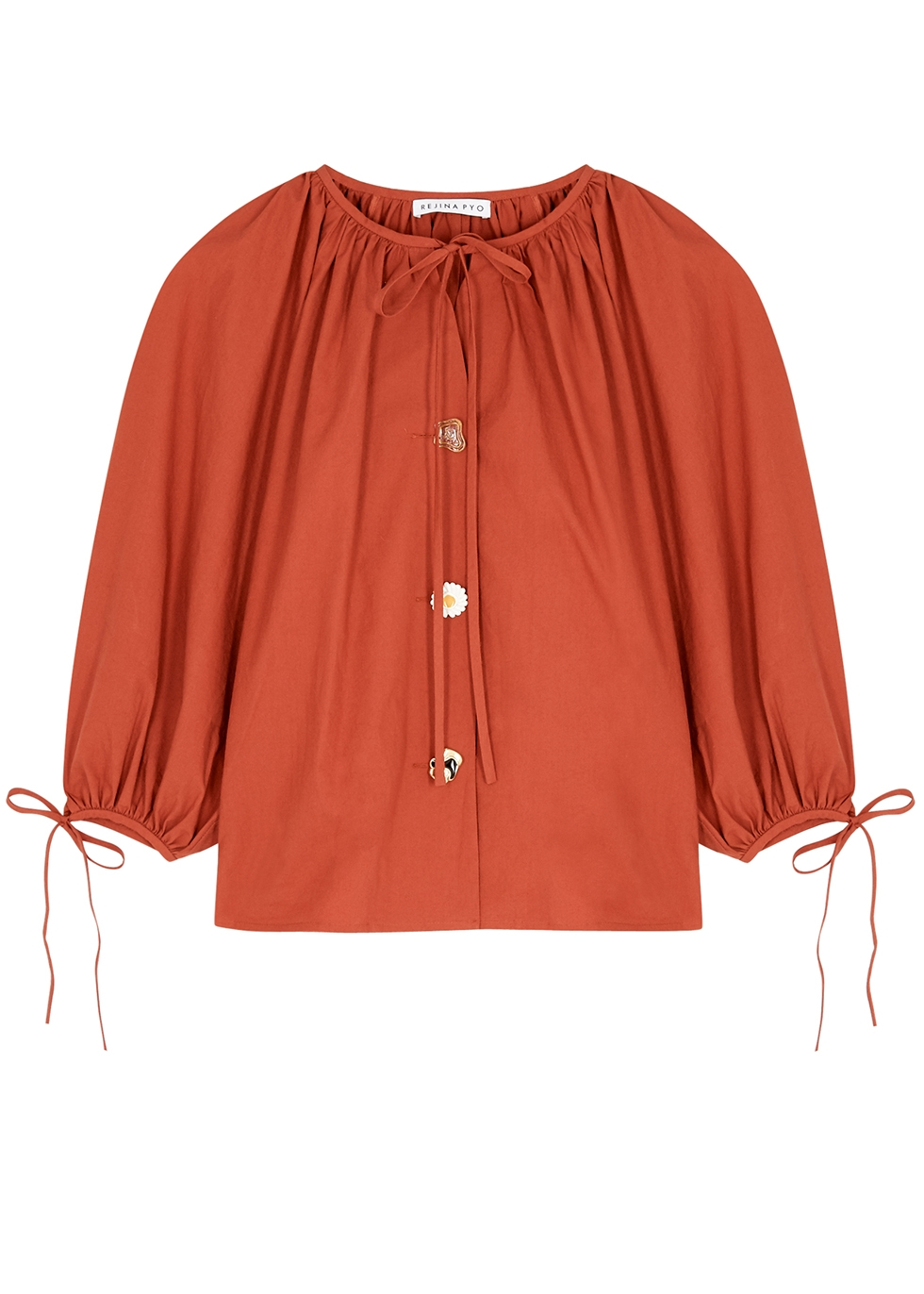 Rejina Pyo SCOUT TERRACOTTA COTTON BLOUSE