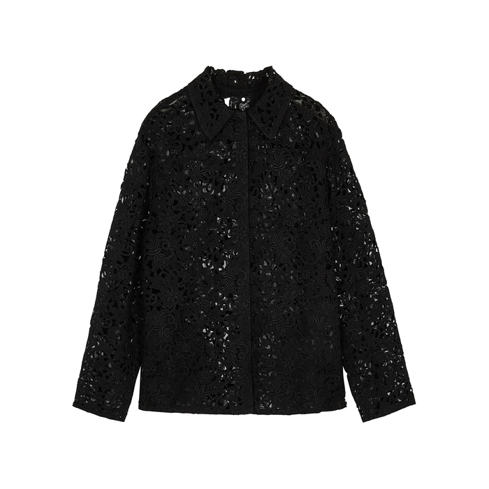 Valentino Cottons BLOSSOM BLACK GUIPURE LACE JACKET