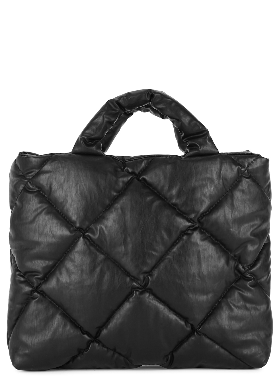 Oil small black quilted coated tote
