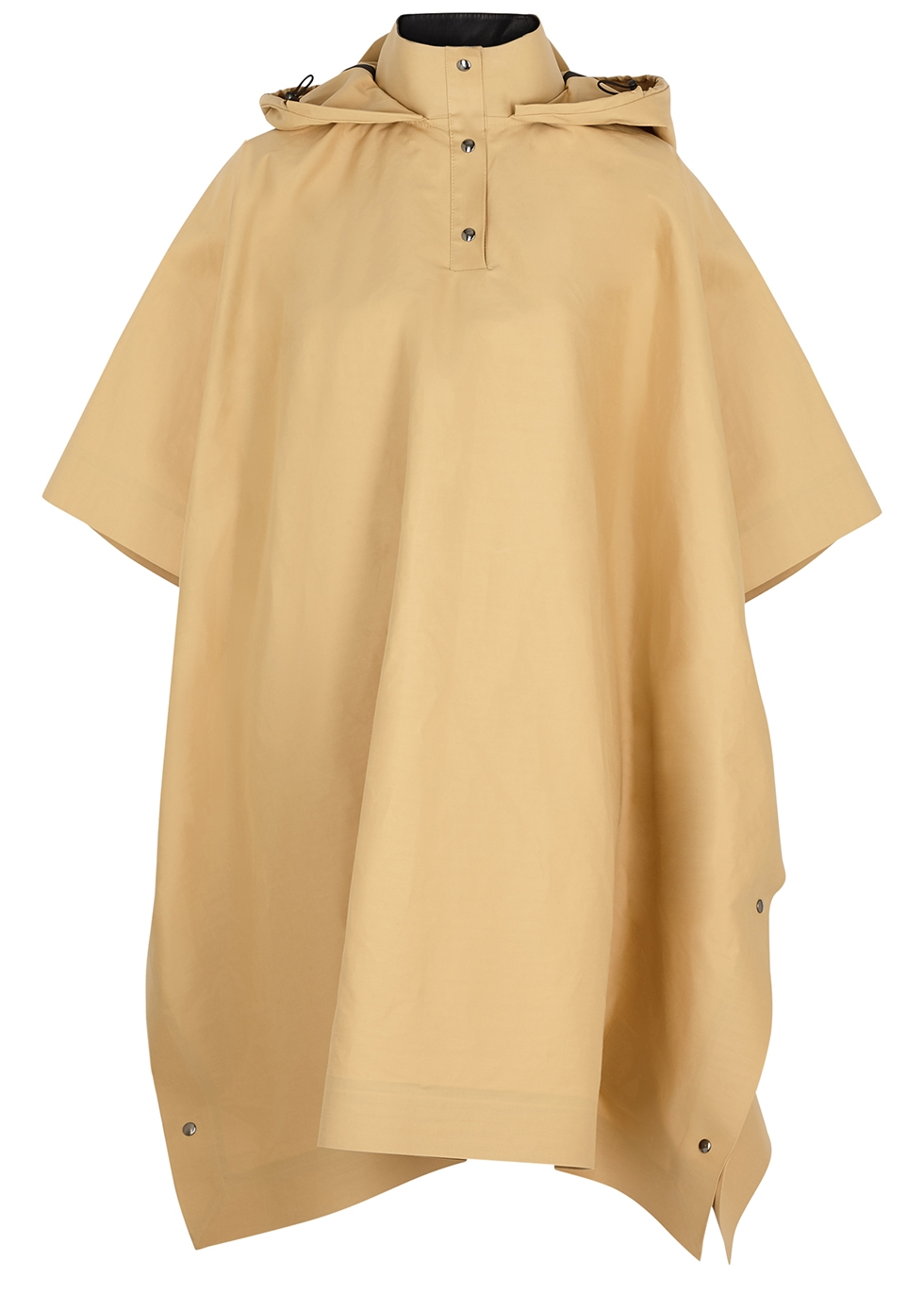 Sand hooded cotton-blend poncho