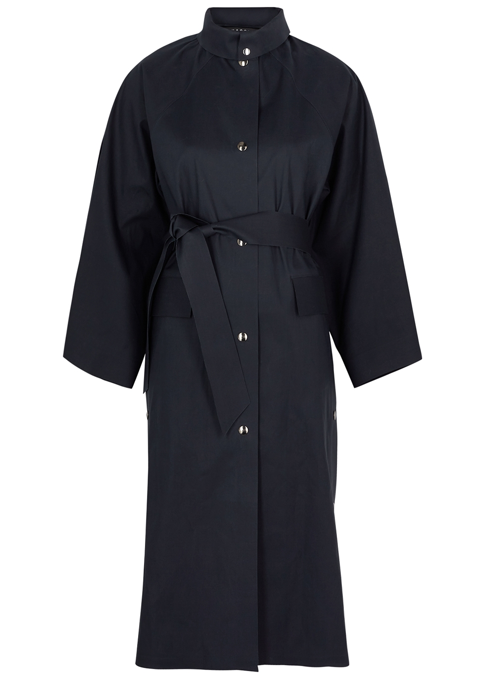 Kimono Below navy cotton-blend coat