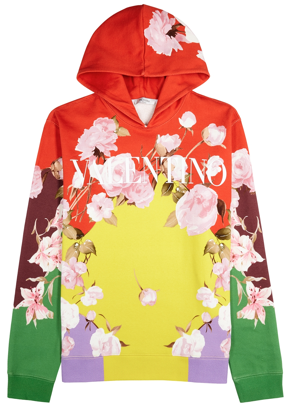 Floral-print hooded cotton-blend sweatshirt