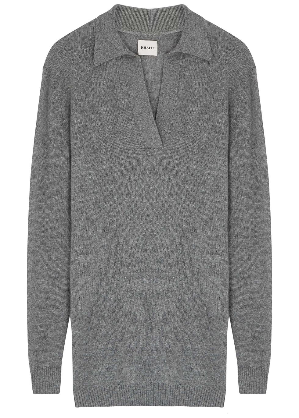 Oversized Jo grey stretch-cashmere jumper