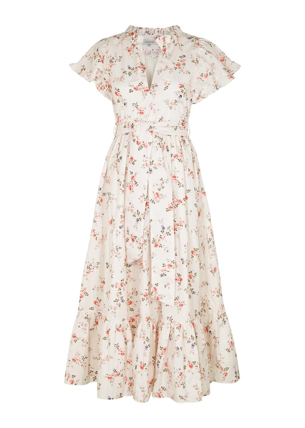 Sofia floral-print cotton midi dress