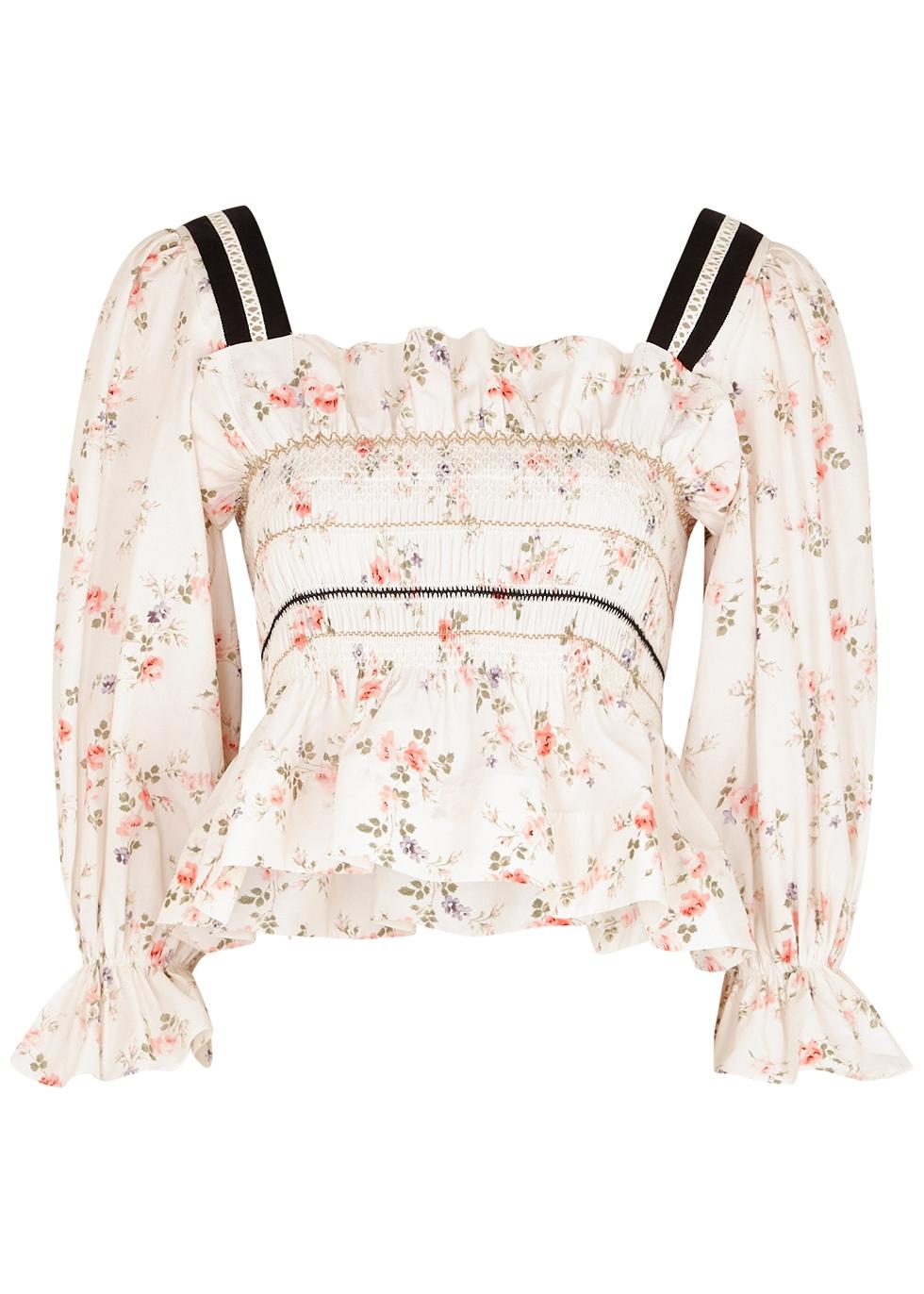 Elisa floral-print smocked cotton top
