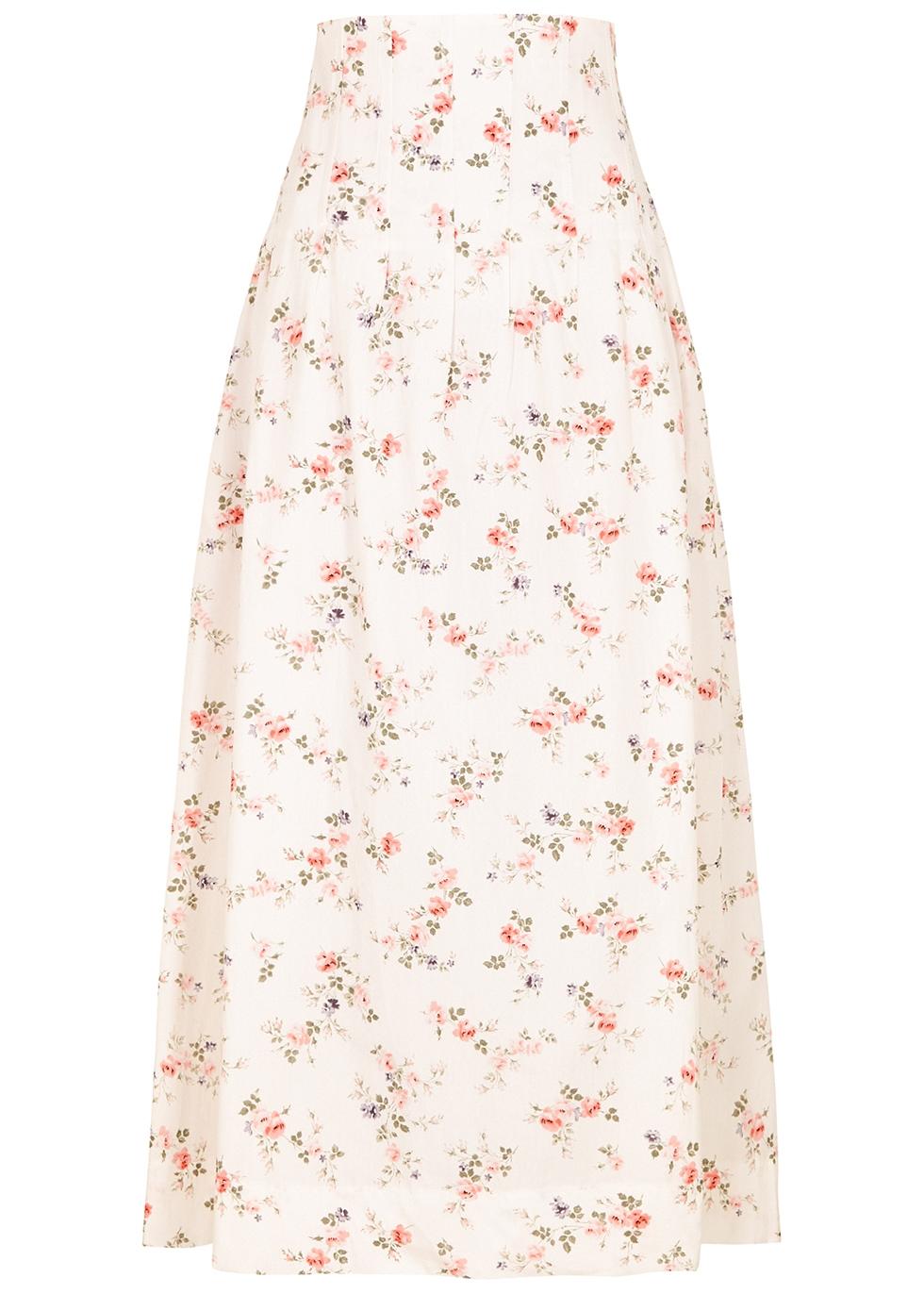 Anna floral-print cotton maxi skirt