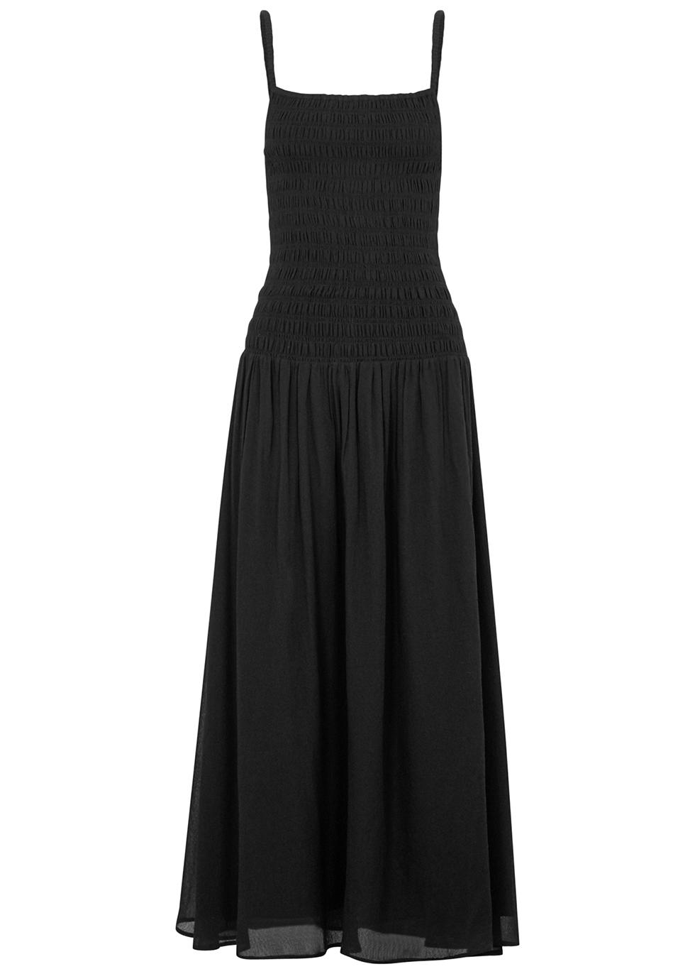 Black smocked midi dress