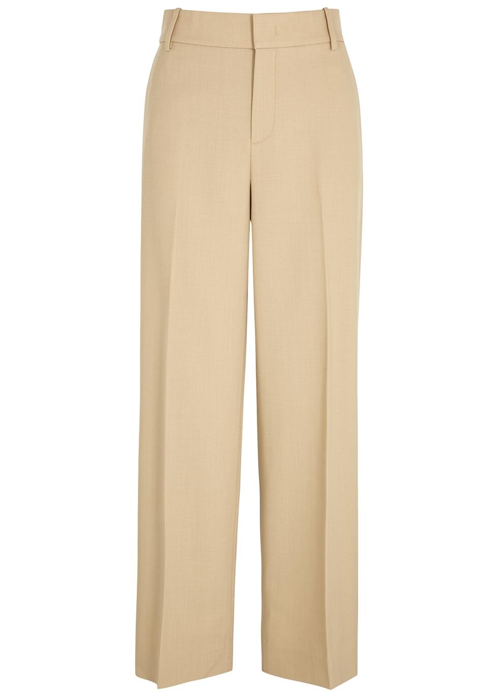 Camel straight-leg wool-blend trousers