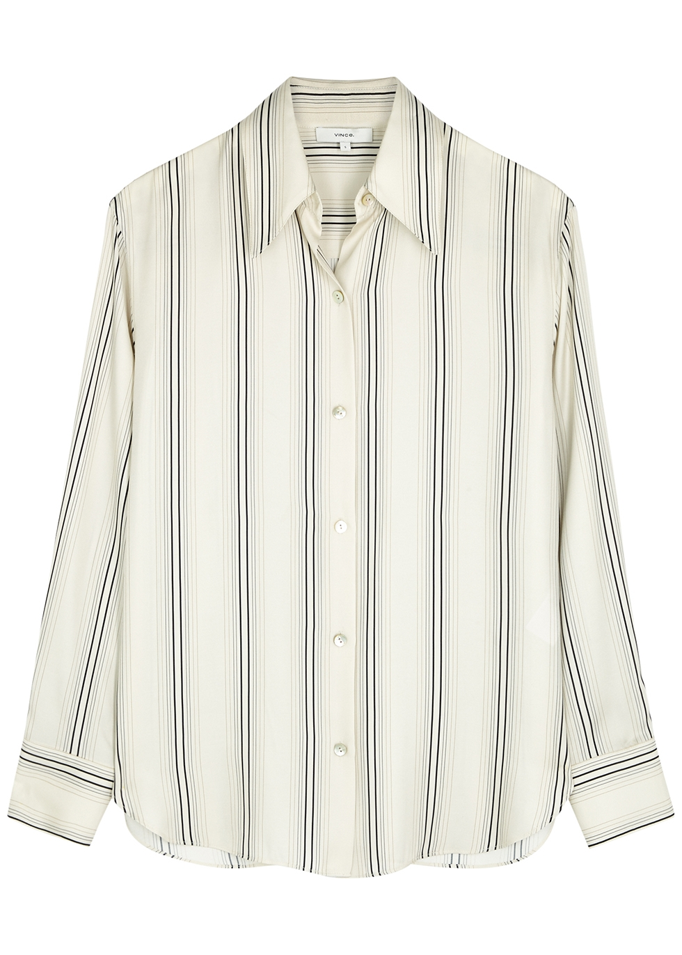 Ivory striped silk-blend shirt