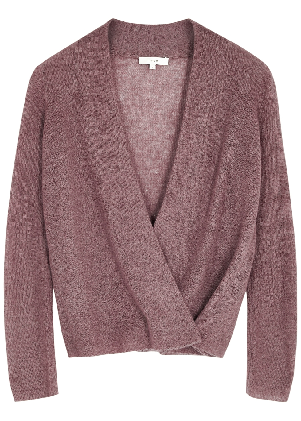 Purple fine-knit wrap cardigan