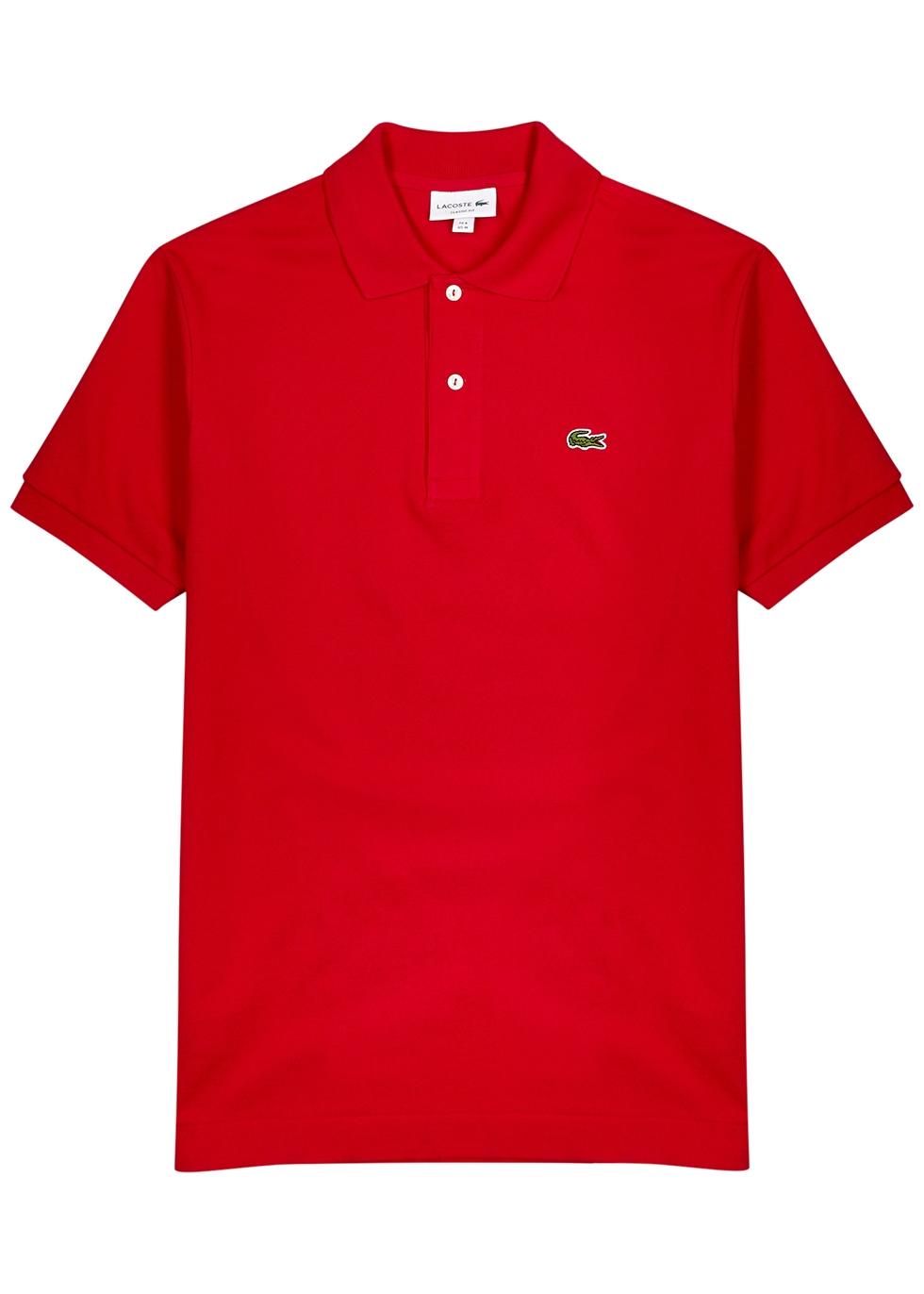 Red piqué cotton polo shirt
