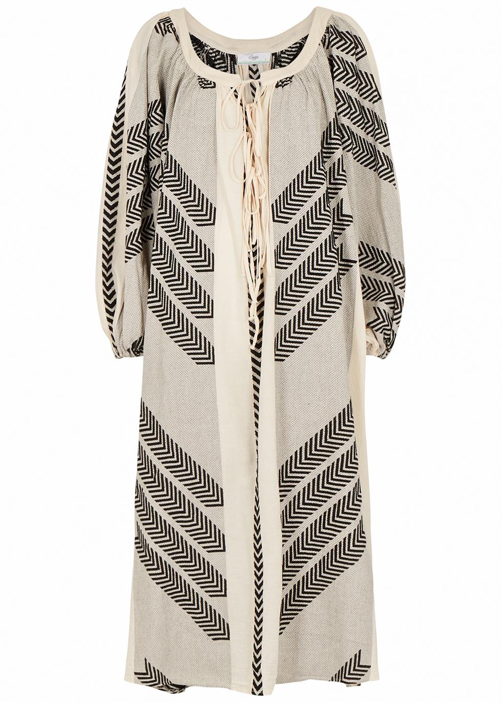 Zakar monochrome embroidered cotton midi dress