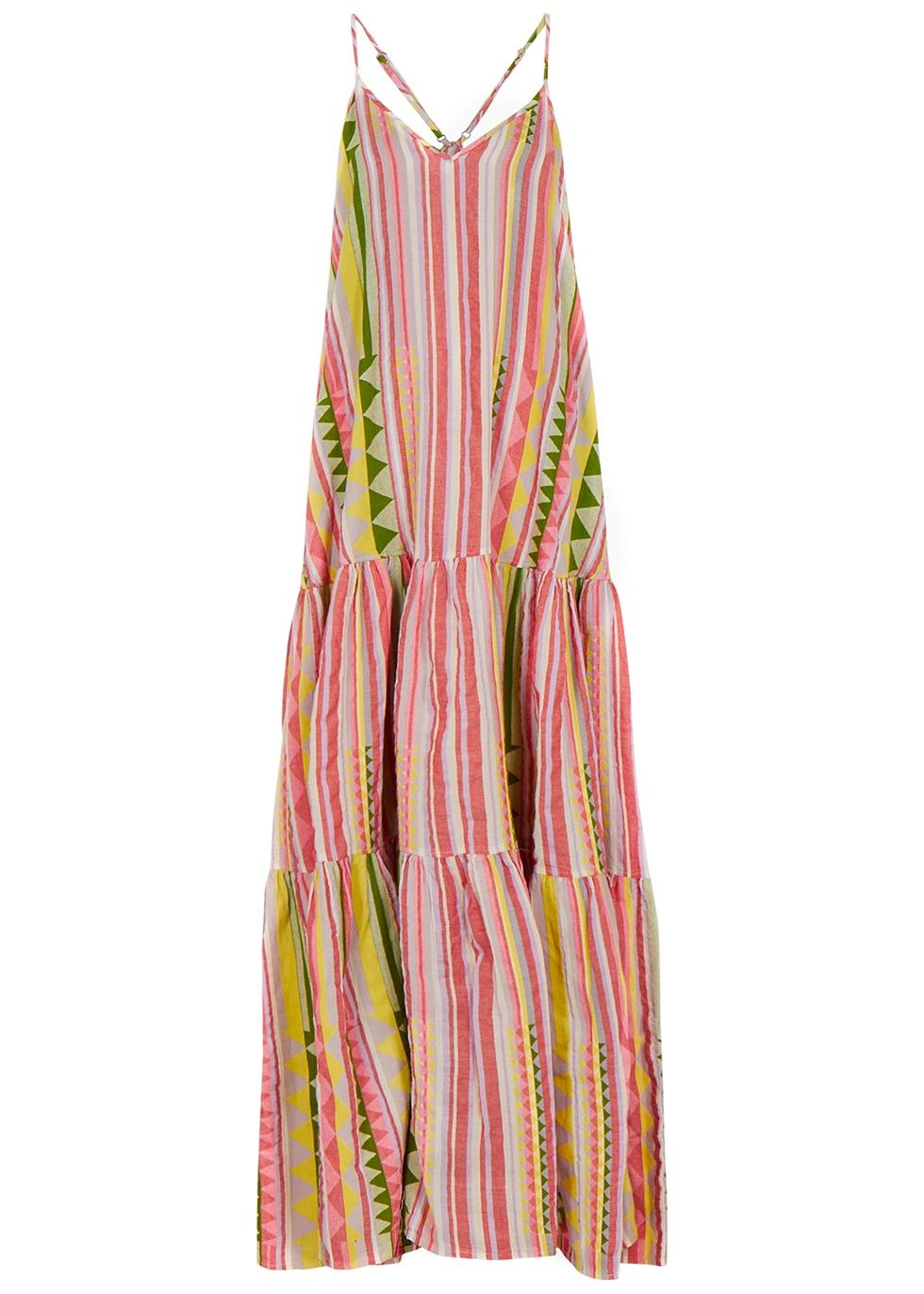 Zakar striped embroidered cotton maxi dress