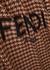 Checked logo-intarsia wool cape - Fendi
