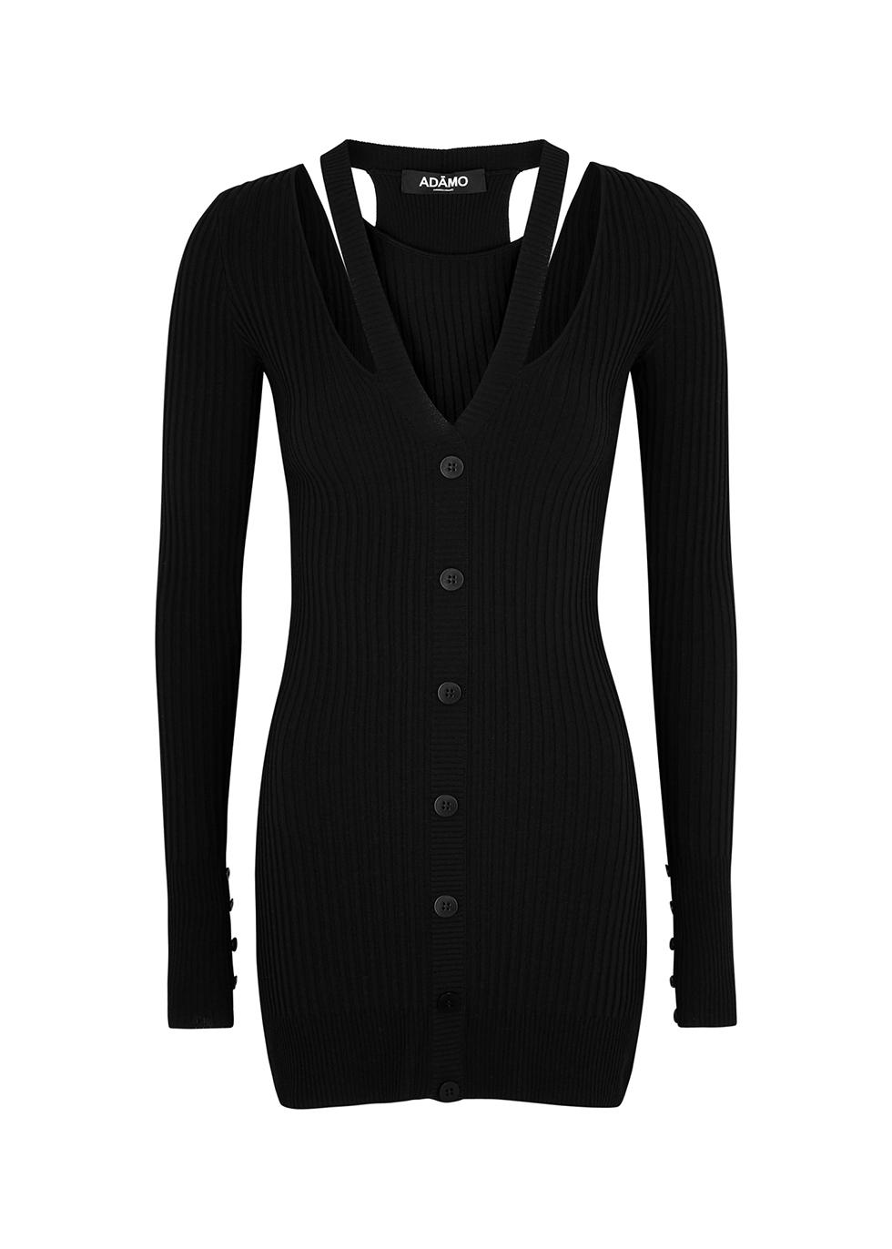 Black cut-out ribbed-knit mini dress