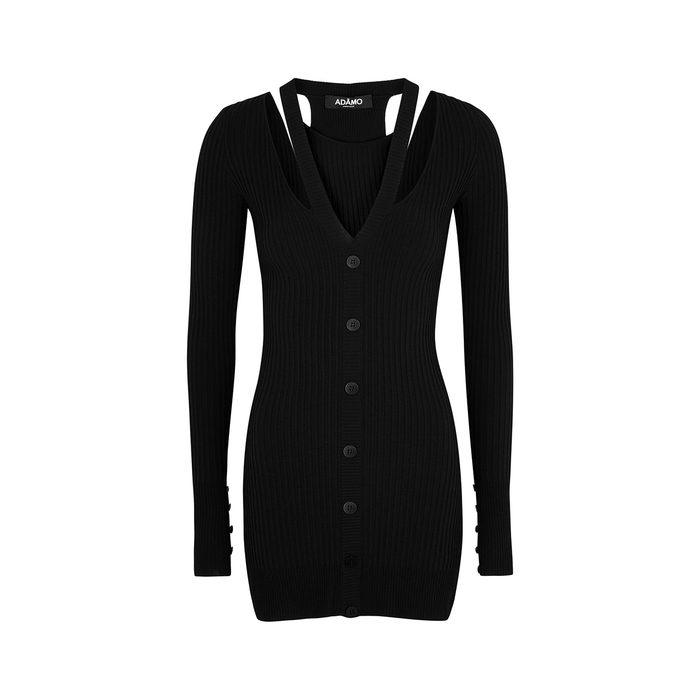 Andrea Adamo Black Cut-out Ribbed-knit Mini Dress