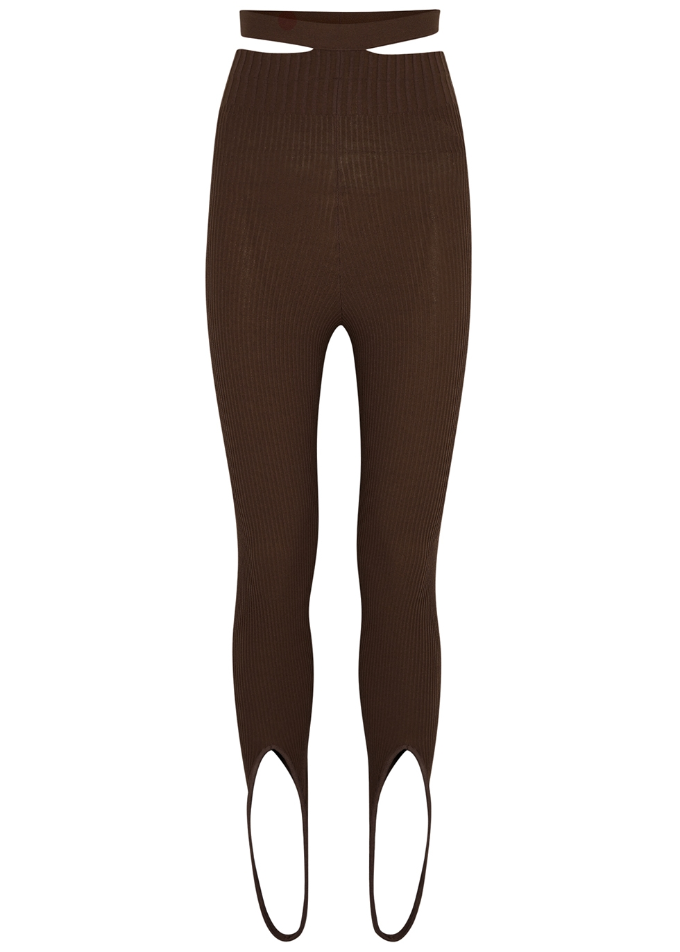 Brown ribbed-knit stirrup leggings