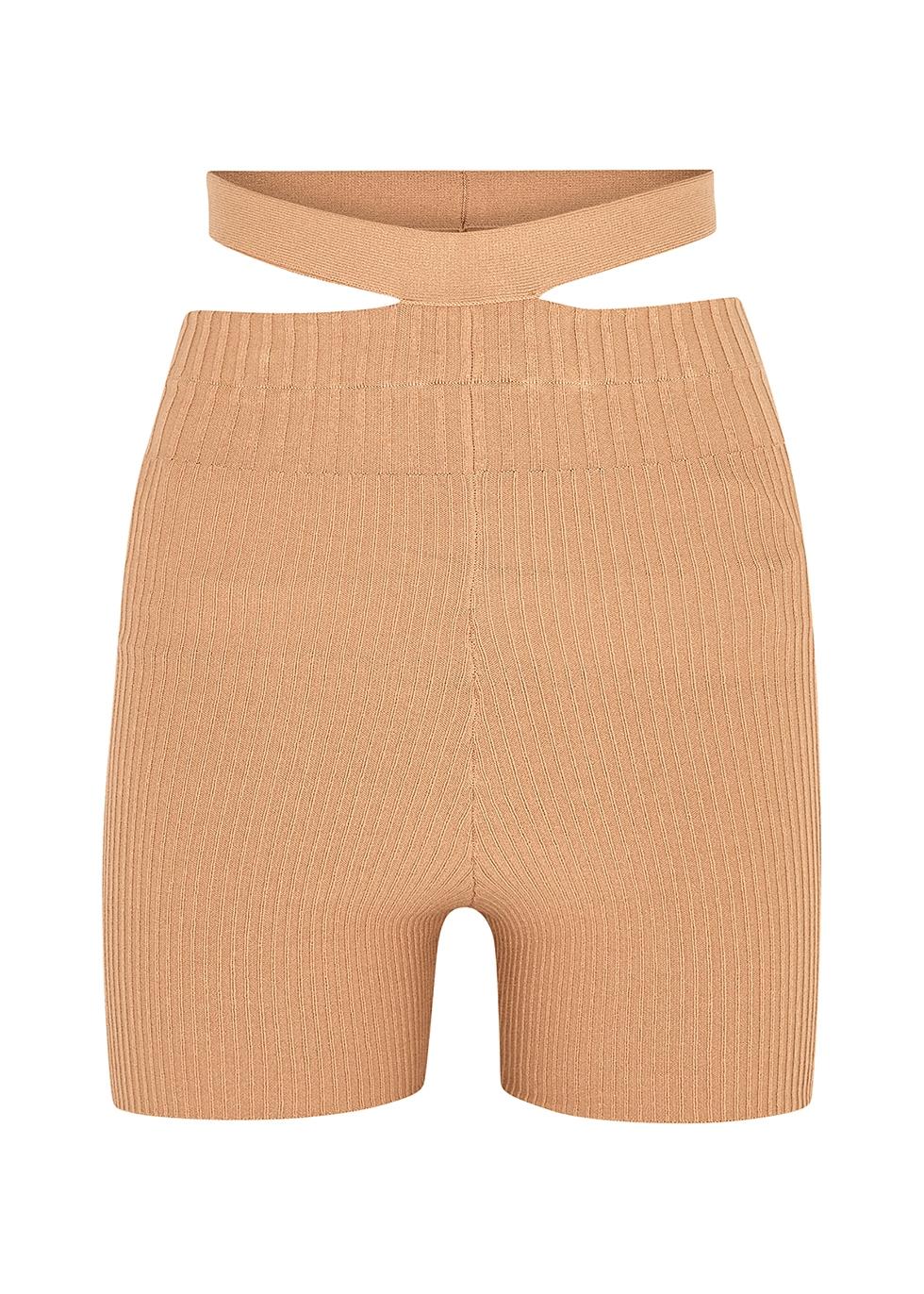 Camel cut-out ribbed-knit shorts