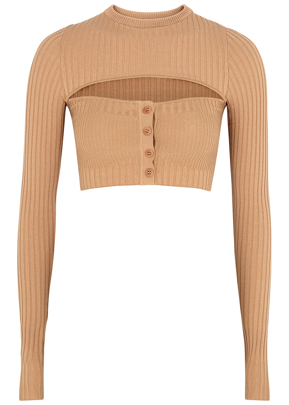 Camel cut-out cropped ribbed-knit top