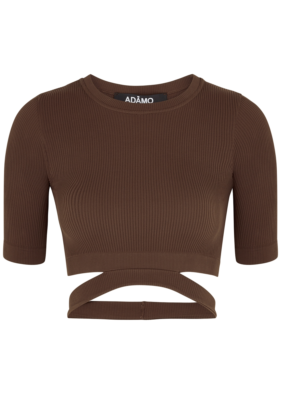 Brown cut-out cropped ribbed top