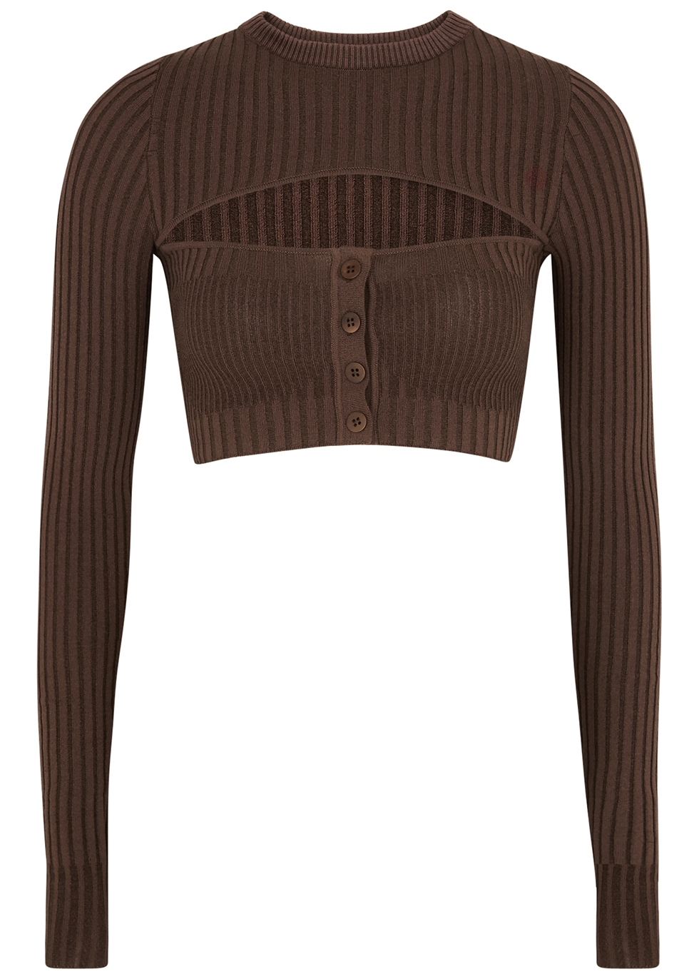 Brown cut-out cropped ribbed-knit top
