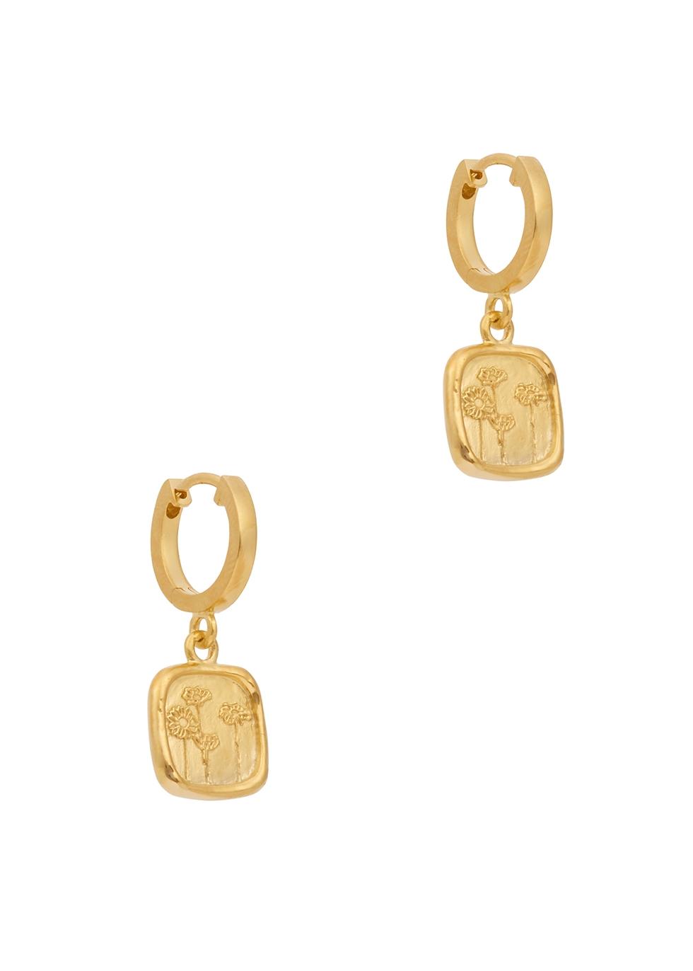 Wild Daisies 18kt gold-plated hoop earrings