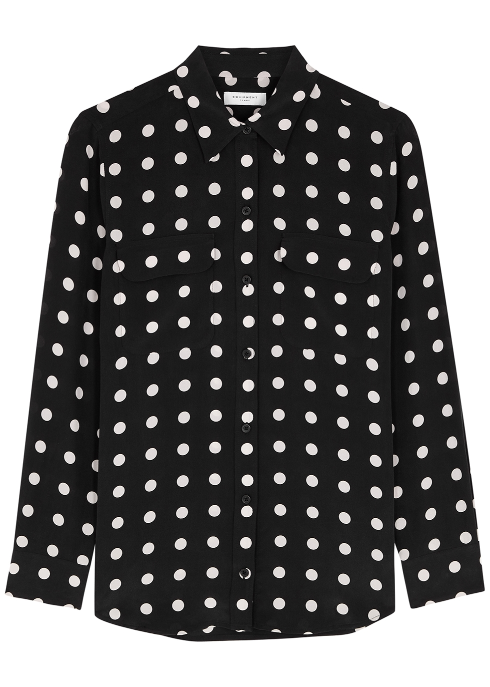 Slim Signature polka-dot silk shirt