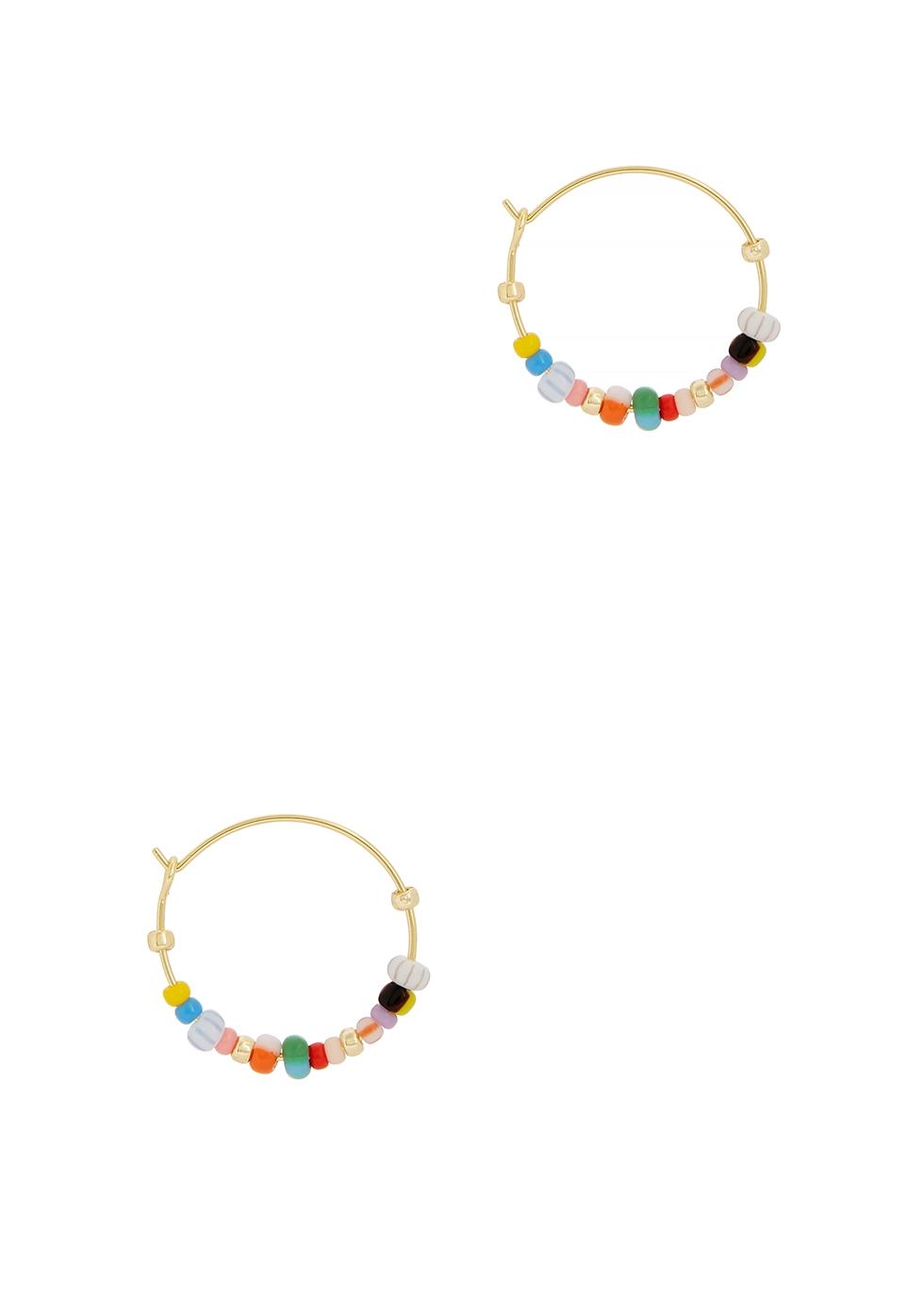 Golden Alaia beaded 18kt gold-plated hoop earrings