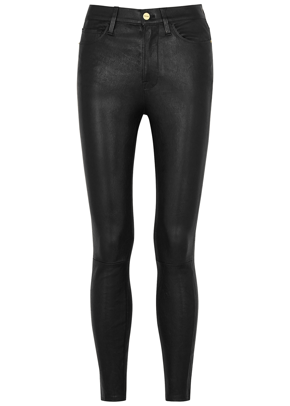 Le High Skinny black leather trousers