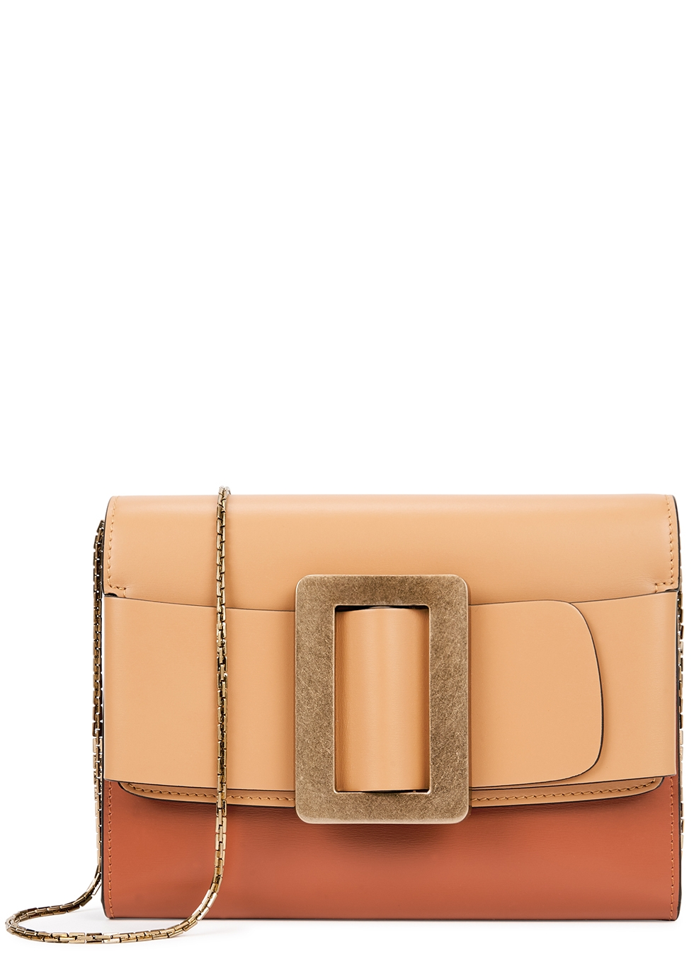 Buckle two-tone leather clutch