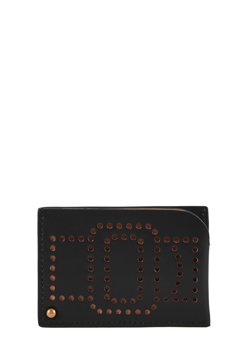 Black perforated leather card holder