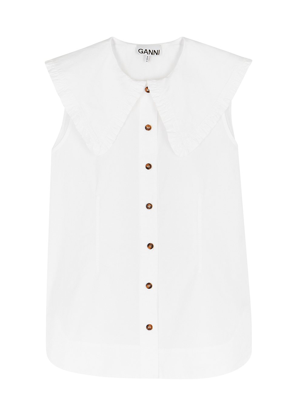 White ruffle-trimmed cotton blouse