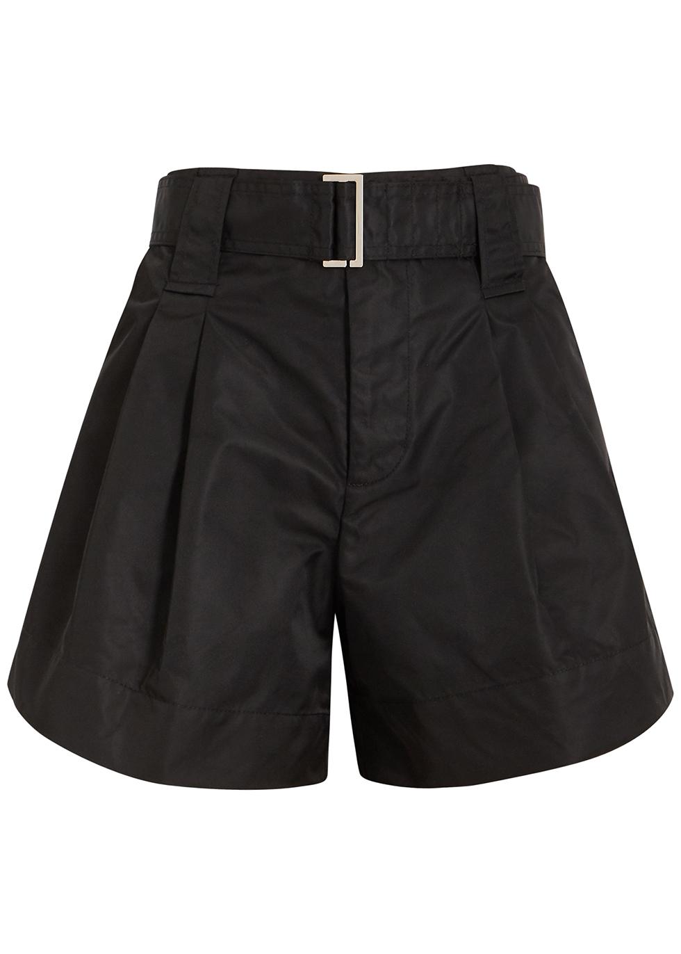 Black belted taffeta shorts