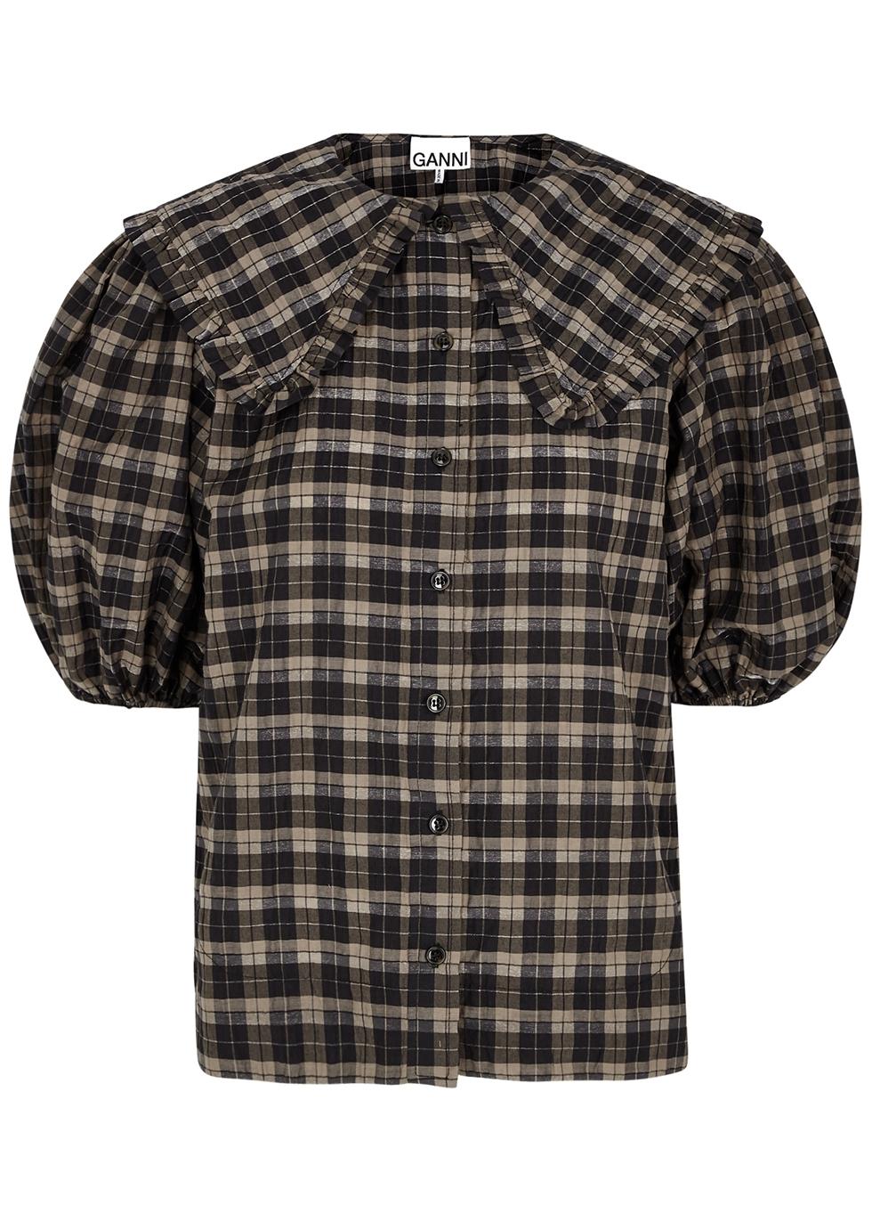Checked lamé-weave seersucker shirt